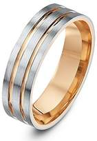 Theia Two Tone Palladium 950 and 9ct Rose Gold Flat Court Matt with Polished Inlays 6mm Wedding Ring - Size Z
