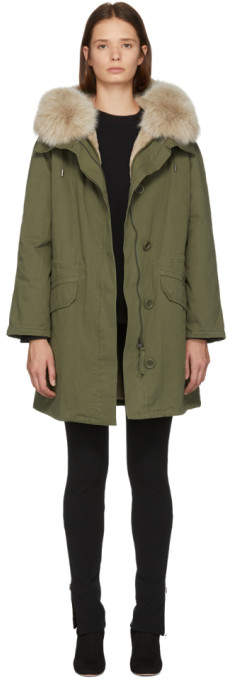 Yves Salomon Army Green and Pink Multi Fur Classic Long Parka