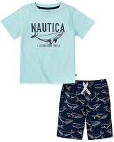 Nautica Boys' Casual Shorts 2030 - Aqua Whale Logo Tee & Navy Whale Shorts - Infant, Toddler & Boys
