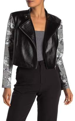 Rachel Roy COLLECTION Charlie Faux Leather Printed Sleeve Jacket