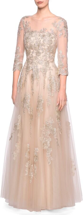 La Femme Lace & Tulle A-Line Gown