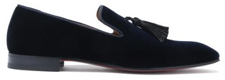 Christian Louboutin Officialito Tassel Velvet Loafers - Navy