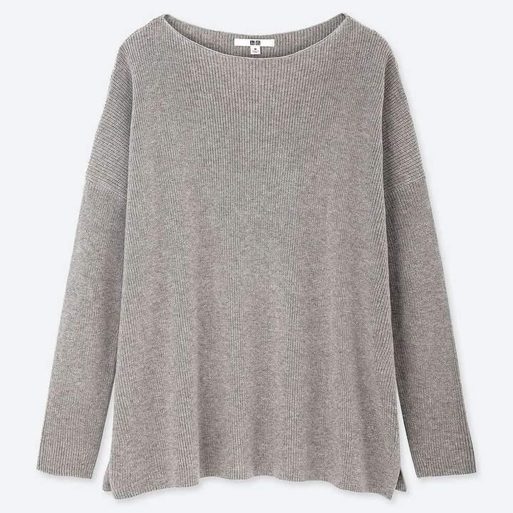 Uniqlo WOMEN Cotton Cashmere Boxy Boat Neck Long Sweater