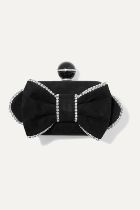 Jimmy Choo Cloud Crystal-embellished Suede Clutch - Black