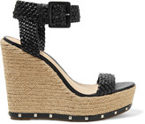 Schutz Gazania studded woven leather wedge sandals