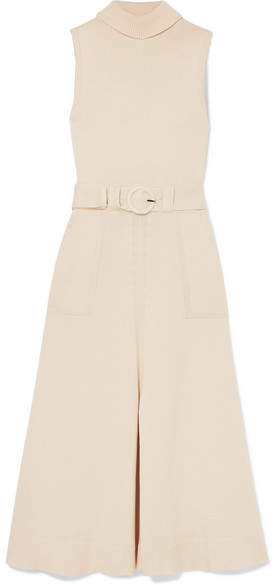 Mara Hoffman Elle Belted Organic Cotton Turtleneck Midi Dress - Cream