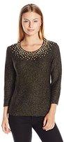 Ruby Rd. Women's Petite Size Embellished Scoop-Neck Metallic Tape Yarn Pullover Sweater