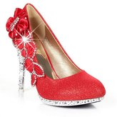 Balamasa Womens Pull-On High Heels Round Toe Solid Pumps Shoes