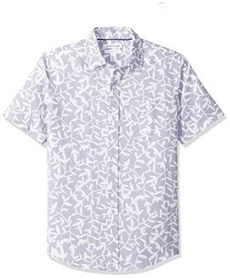 Amazon Essentials Slim-Fit Short-Sleeve Gingham Linen Shirt Button,US (EU -)