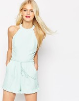Asos High Neck Ruffle Hem Romper with Rope tie