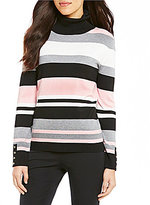 Investments Turtleneck Long Sleeve Striped Pullover Sweater