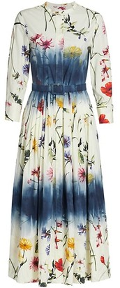Oscar de la Renta Floral Belted Stretch-Cotton Shirtdress