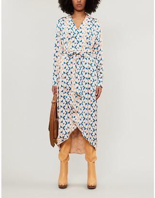 NEVER FULLY DRESSED Aztec-print reversible crepe midi dress