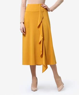 Anette Women's Casual Skirts Mustard - Mustard Ruffle Midi Skirt - Women & Plus
