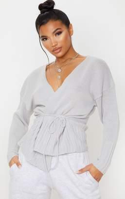 PrettyLittleThing Grey Soft Oversized Wrap Tie Cardigan