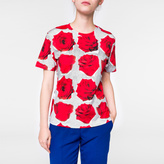 Paul Smith Women's Grey And Red 'Rose' Print Cotton T-Shirt