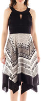 JCPenney Ombre Melrose Sleeveless Scarf Print Fit-and-Flare Dress