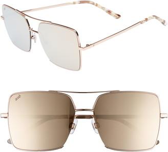 Web 57mm Square Metal Aviator Sunglasses