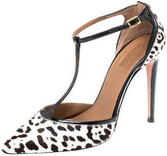 Aquazzura Aquazurra White/Black Leopard Print Calfhair Tango T-Strap Pointed Toe Sandals Size 37.5