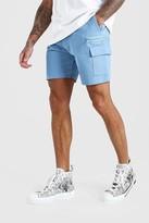 boohoo Mens Green Twill Cargo Shorts With Zips, Green