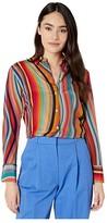 Paul Smith PS Swirl Print Silk Button-Down Blouse (Swirl) Women's Clothing