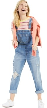 Style&Co. Style & Co Ripped Cuffed Denim Overalls, Created for Macy's