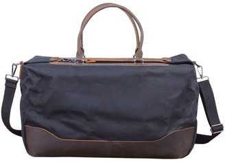 Waxed Canvas Holdall In Charcoal Black