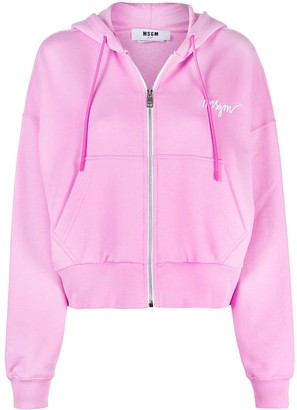 MSGM Logo-Embroidered Zip-Up Hoodie