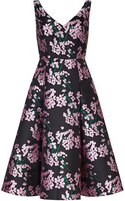 Adrianna Papell Flower Flared Tea Length Dress