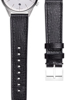 Uniform Wares Women's textured calf watch strap in black with polished buckle