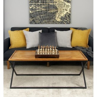 Union Rustic Villines Metal and Wood Coffee Table with Tray Top
