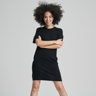 Naadam Summer Silk Everyday Shirt Dress Black