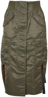 Sacai Side-Slit Cargo Midi Skirt