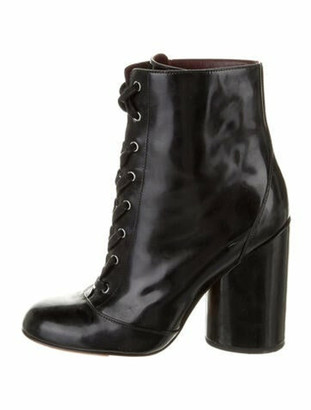 Marc Jacobs Patent Leather Combat Boots Black