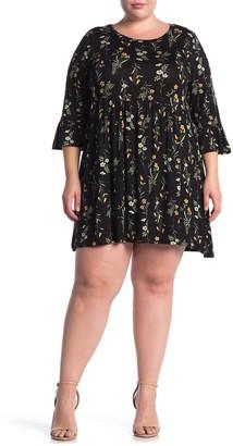 Bobeau Floral Print Ruffle Sleeve Babydoll Dress (Plus Size)
