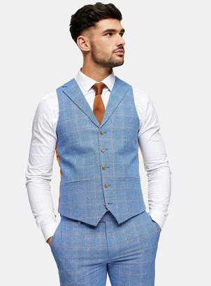 Topman HARRY BROWN Blue Slim Check Waistcoat