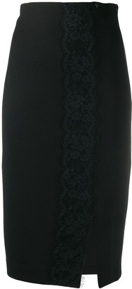 Twin-Set lace trim pencil skirt