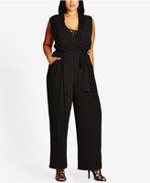 City Chic Trendy Plus Size Faux-Wrap Wide-Leg Jumpsuit