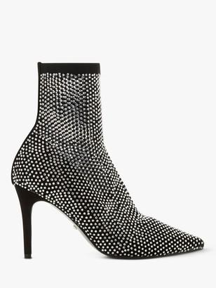 Dune Billionaire Studded Stiletto Heel Ankle Boots, Black