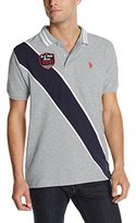 U.S. Polo Assn. Men's Diagonal Stripes Short Sleeve Pique Polo Shirt