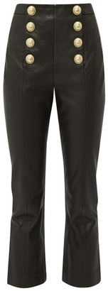 Balmain Buttoned Leather Kick-flare Trousers - Womens - Black