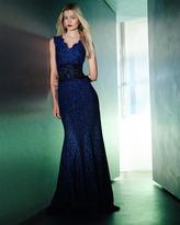 Tadashi Shoji Scalloped Lace Banded-Waist Gown