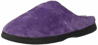 Dearfoams Women's Microfiber Quilted Cuff Velour Clog Smokey Purple Large US