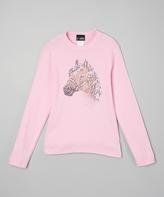 A Wish Pink Rhinestone Horse Long-Sleeve Tee - Infant Toddler & Girls