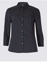 M&S Collection Cotton Rich 3/4 Sleeve Fuller Bust Shirt