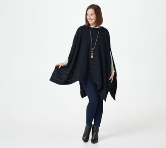 Lisa Rinna Collection Cable Knit Poncho