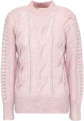 Rebecca Taylor Crochet-trimmed Cable-knit Sweater