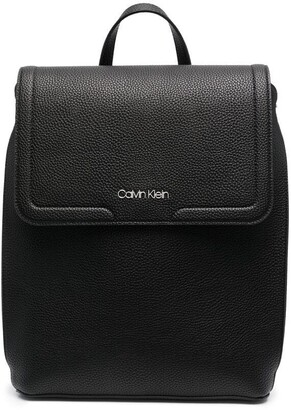 Calvin Klein Faux-Leather Flap Backpack