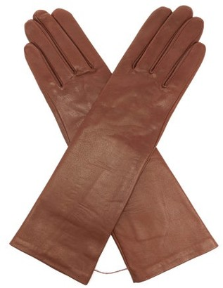 Agnelle Celia Silk-lined Leather Gloves - Brown