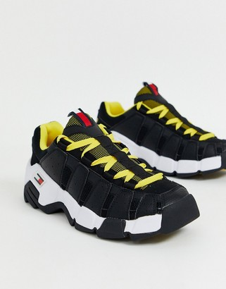 Tommy Jeans chunky trainer in black with contrast yellow laces